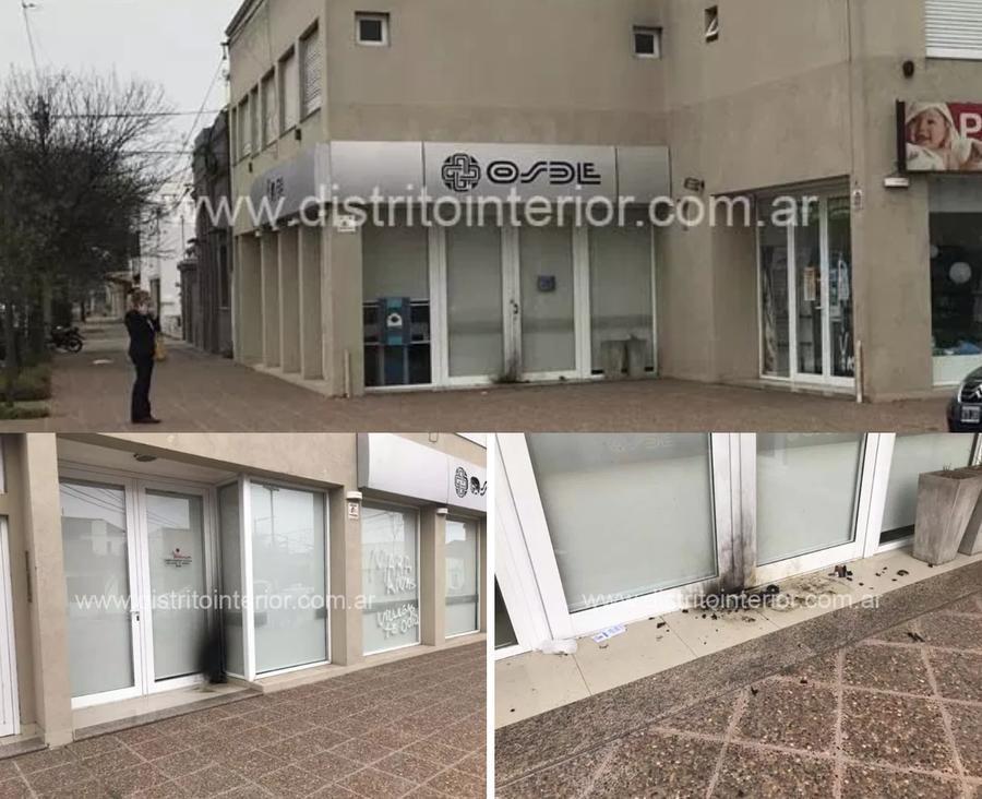 ATACARON CON BOMBAS MOLOTOV LAS OFICINAS DE OSDE EN GRAL. VILLEGAS