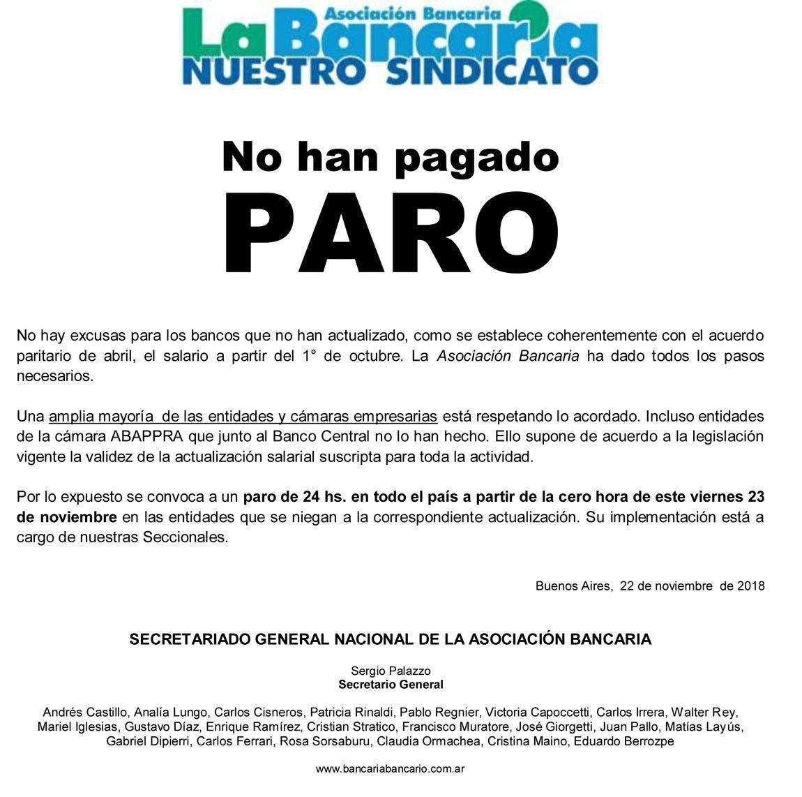 BANCARIOS ANUNCIARON UN PARO DE 24 HORAS PARA ESTE VIERNES EN TODO EL PAÍS