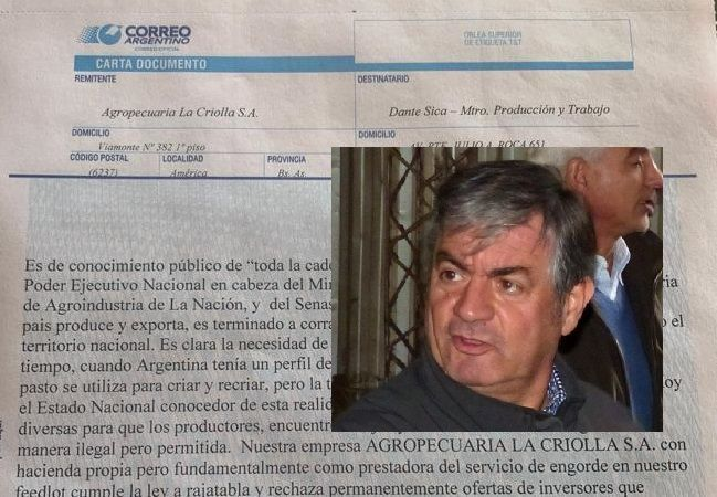 PRODUCTOR LOCAL ENVIÓ CARTA DOCUMENTO A FUNCIONARIOS NACIONALES