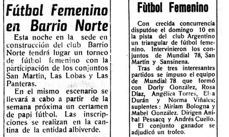 EN 1977 SE JUGARON LOS PRIMEROS CAMPEONATOS DE FÚTBOL FEMENINO