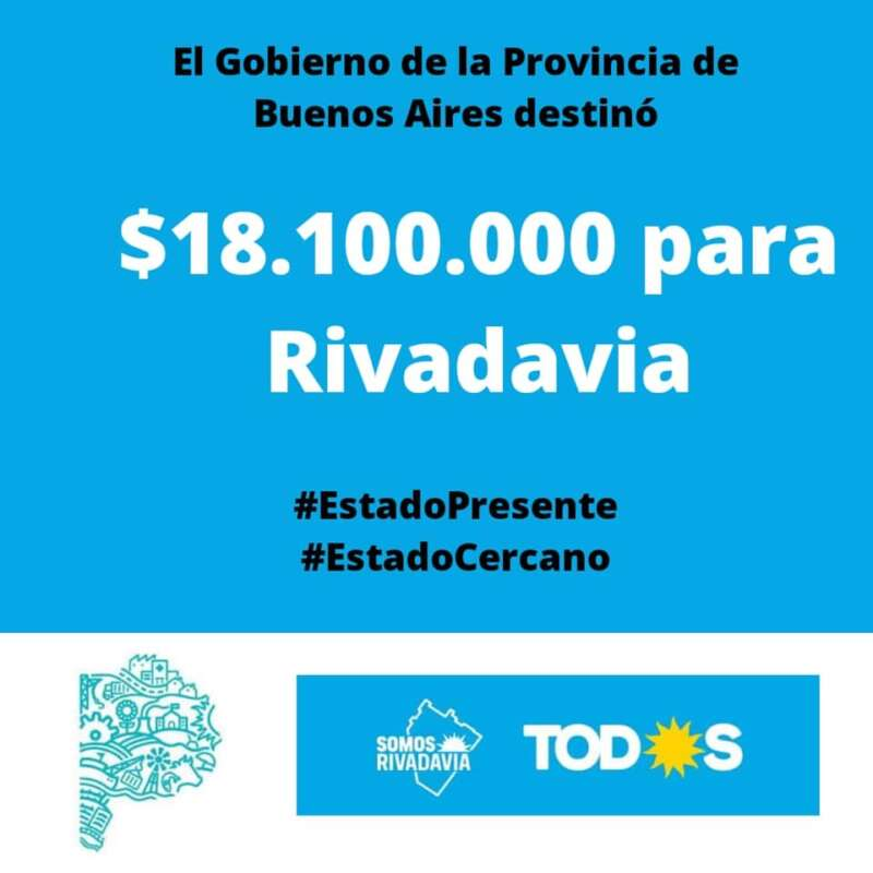 LA PROVINCIA DESTINA MÁS DE $18 MILLONES PARA RIVADAVIA